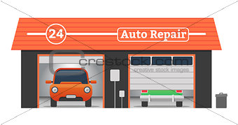 Auto repair vector garage concept