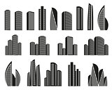 Isolated black and white color skyscrapers in lineart style icons collection, elements of urban architectural buildings vector illustrations set.