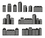Isolated black and white color skyscrapers and low rise houses in lineart style icons collection, cityscape of architectural buildings vector illustrations set.