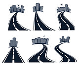 Isolated highway road with dividing marking and cityscape icons collection vector illustration.