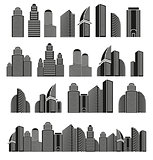 Isolated black and white color skyscrapers in lineart style icons collection, cityscape of architectural buildings vector illustrations set.