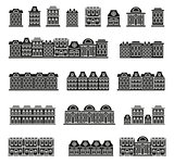 Isolated black and white color low-rise municipal houses in lineart style icons collection, elements of urban architectural buildings vector illustrations set.