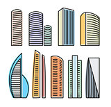 Isolated colorful skyscrapers in lineart style icons collection, elements of urban architectural buildings vector illustrations set.