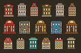 Isolated colorful low-rise municipal houses in lineart style icons collection, elements of urban architectural buildings vector illustrations set.
