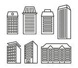 Isolated black and white color blocks of flats and low-rise houses in lineart style icons collection, elements of urban architectural buildings vector illustrations set.
