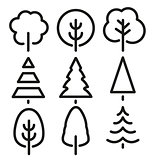Isolated black and white color trees in lineart style set, forest,park and garden flat signs collection.