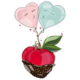 Apple in chocolate with balloon in love.