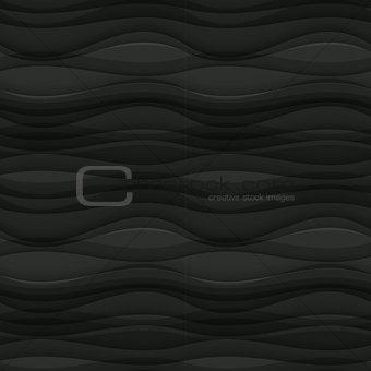Black seamless Wavy background texture.