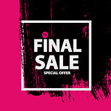 Abstract Brush Stroke Designs Final Sale Banner in Black, Pink a