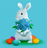 White easter bunny holding bouquet flowers of violets