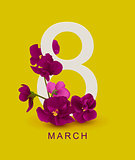 March 8 greeting card template. Violet flower on yellow background