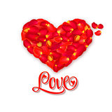 Heart of rose petals whith lettering Love. Valentine's day greeting card. Vector background.