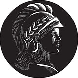 Minerva Head Side Profile Oval Woodcut