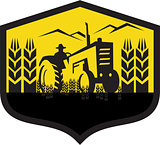 Tractor Harvesting Wheat Farm Crest Retro