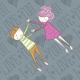 Vector Seamless Card With Couple 09 [Converted]