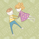 Vector Seamless Card With Couple 12 [Converted]