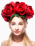 Portrait of a Girl with Flower Arrangement on Head