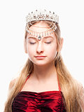 Girl n Red Dress and Crown on her Head