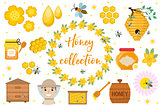 Honey collection. Beekeeping set of objects isolated on white background. Apiculture kit of design elements flat, cartoon style. Vector illustration, clip-art.