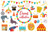 Circus Collection, flat, cartoon style. Set isolated on a white background. Kit with elephant, tent, lion, Sealion, gun, clown, tickets. Design elements. Vector illustration, clip art.