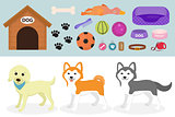 Dogs stuff icon set with accessories for pets, flat style, isolated on white background. Domestic animals collection with a Husky, akita inu, lablador. Puppy toy. Vector illustration, clip art.