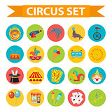 Circus icon set, flat, cartoon style. Set isolated on a white background with elephant, lion, Sealion, gun, clown, tickets. Design elements. Vector illustration, clip art.