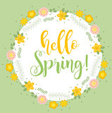 Hello Spring floral frame for text, isolated on white background. Spring template for your design, cards, invitations, posters. Vector illustration.