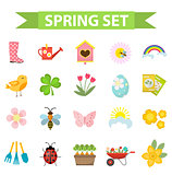 Spring icons set, flat style. Gardening cute collection of design elements, isolated on white background. Nature clip art. Vector illustration.