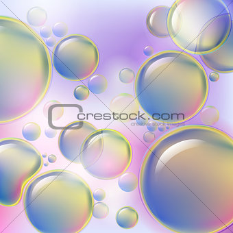 Abstract colorful bubbles rising on soft background. Drops of oil or cellular structure scientific background.