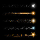 Gold glittering star dust trail sparkling particles on transparent background. Space comet tail. Vector glamour fashion illustration.