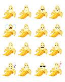 Sixteen banana emojis