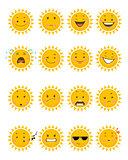 Sixteen sun emojis