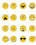Sixteen yellow faces