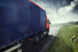 Truck on the road 3D Rendering