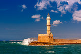 Lighthouse in old harbour, Chania, Crete, Greece