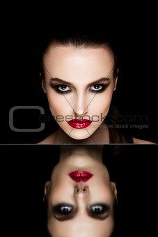 Beauty makeup fashion model on mirror  reflection