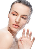 Beauty woman girl natural makeup through wet glass