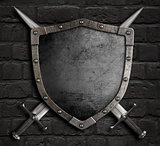medieval shield with crossed swords on brick wall 3d illustration