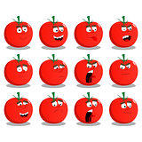 Cartoon Tomatos set with facial expressions