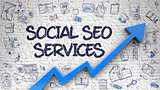 Social SEO Services Drawn on White Brickwall.