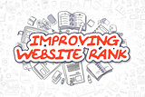 Improving Website Rank - Doodle Red Text. Business Concept.