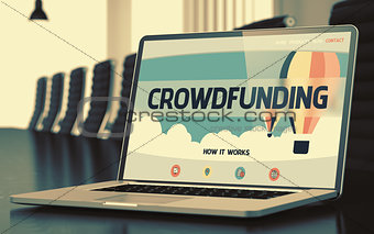 Crowdfunding Concept on Laptop Screen. 3D.