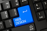 Blue Web Design Keypad on Keyboard. 3D.