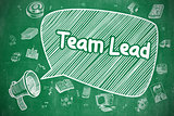 Team Lead - Cartoon Illustration on Green Chalkboard.
