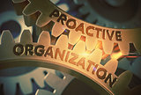 Proactive Organization on Golden Gears. 3D Illustration.