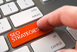 Hand Finger Press SEO Strategies Key. 3D.