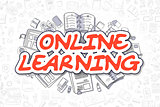 Online Learning - Doodle Red Text. Business Concept.