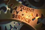 Golden Gears with Client Service Concept. 3D Illustration.