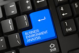 Keyboard with Blue Button - Business Environment Analysis. 3D.