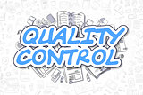 Quality Control - Cartoon Blue Text. Business Concept.